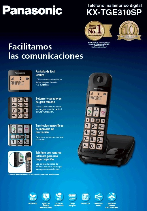 Telefono Inal Panasonic Kx-Tge310spb Personas Mayo