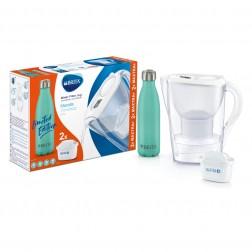 Jarra Agua Brita Marella Blanca 2,4l+2 Filtros Maxtra+ Botella Inox