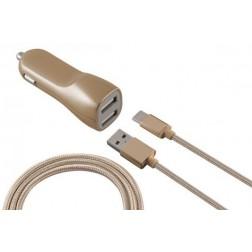 Cargador Coche Ksix 2 Usb 2.1a+cable Dorado